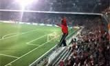 Wire Walk on Stadium During Soccer Match