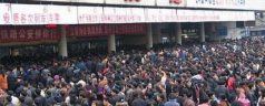 Overcrowded Train Station in China